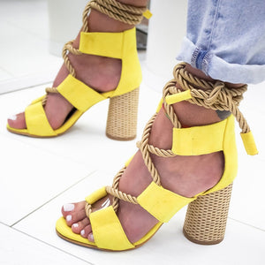 Heel Pointed Fish Mouth Rope Lace Up Gladiator Sandal