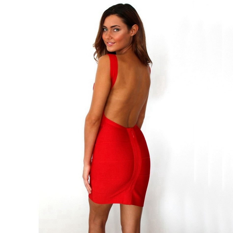 V-Neck Sleeveless Spaghetti Strap Zipper Bodycon Dress