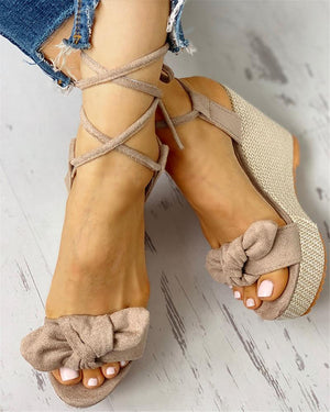Sweet Bow Lace Up Ankle Wrap High Heel Platform Wedge