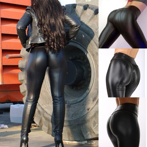 Leather Stretch Wet Look Butt Lift Leggings