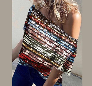 Skew Neck Short Sleeve Striped Sequined Sparkly Blouse