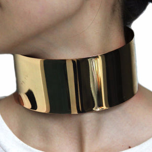 Wide Metal Alloy Statement Torque Choker Necklace