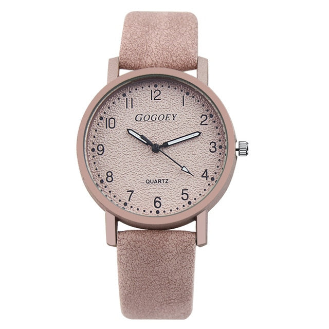 Leather Band Buckle Glass Mirror Round Quartz Watch