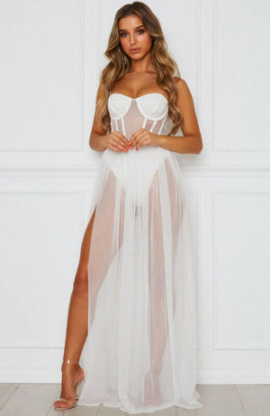 Sheer Mesh Sleeveless Ribbed Lace Tulle Split Maxi Dress