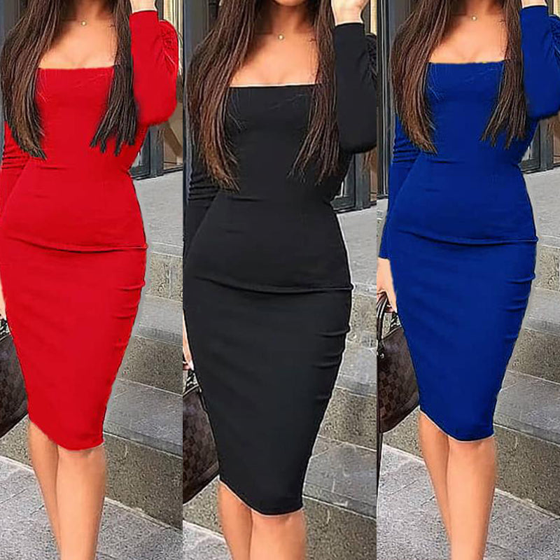 Elegant Cotton Square Collar Long Sleeve Bodycon Dress