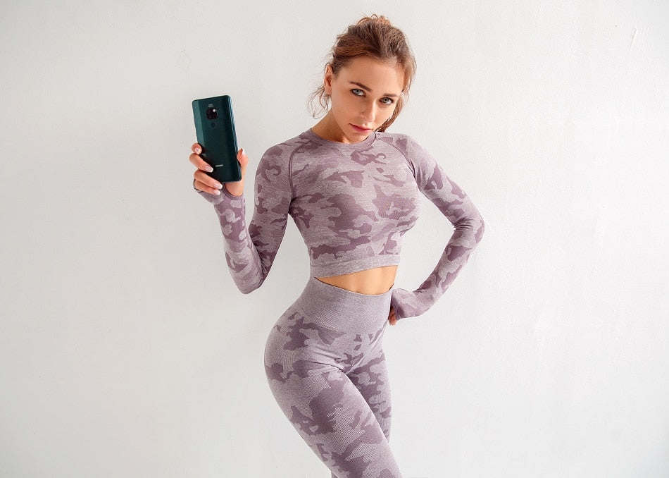 Camouflage Seamless O Neck Long Sleeve Hollow Back Tight Legging Sportswear