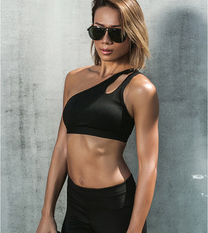 One Shoulder Sleeveless Hollow Out Crop Padded Sports Bra
