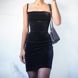 Velvet Spaghetti Strap Front Ruched Mini Bodycon Dress