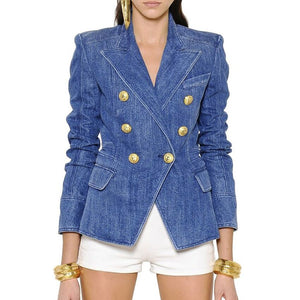 Lion Buttons Double Breasted Patchwork Denim Blazer