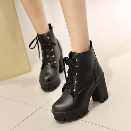 Round Toe PU Leather Punk Platform Lace Up High Heel Ankle Boots