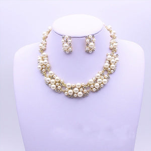 Pearl Rhinestone Crystal Necklace Stud Earrings Elegant Jewelry Set
