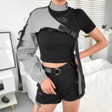 Reflective One Shoulder Punk Long Sleeve Crop Top