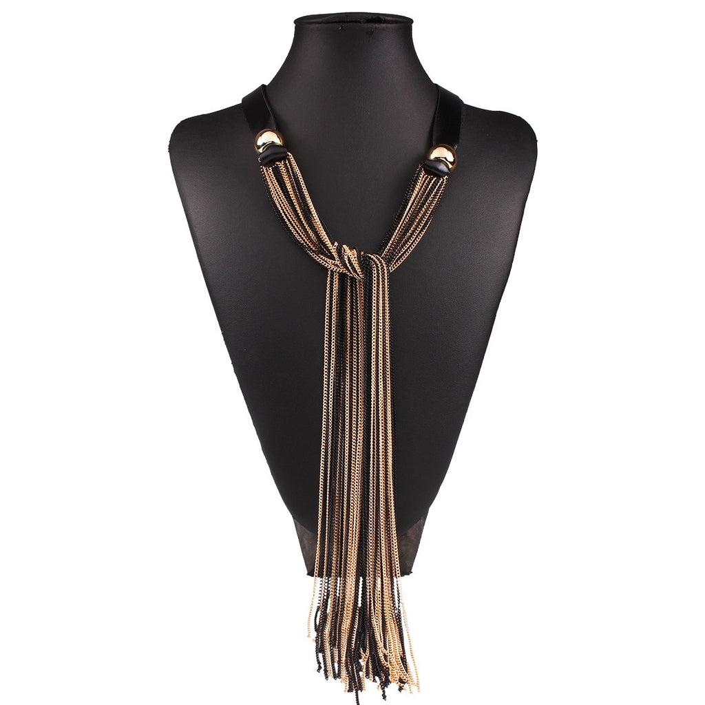 Leather Layer Resin Long Tassel Chain Vintage Necklace