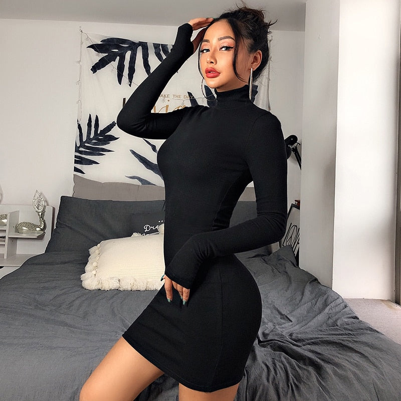 Solid Elastic Cotton Turtleneck Long Sleeve Skinny Mini Bodycon Dress