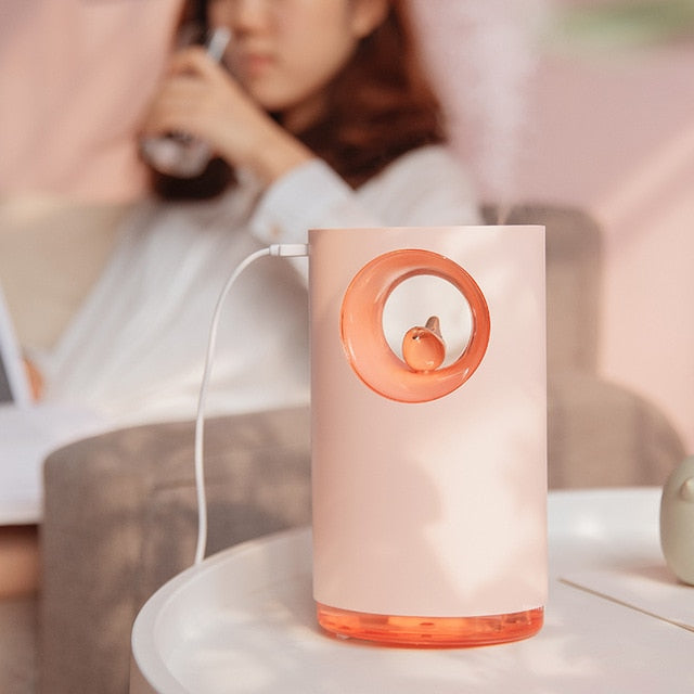 Stress Relief Nature Bird Song with LED Lamp 400ML USB Music Air Humidifier