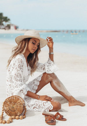 Deep V-Neck Perspective Lace Mesh Long Sleeve Cover Up
