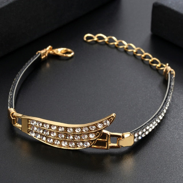 Round Heart Crystal Pendant Mulitlayer Gold Link Box Chain Charm Bracelet