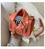 Chain Motorcycle Jacket Design Rivet Zipper Details Crossbody Bag