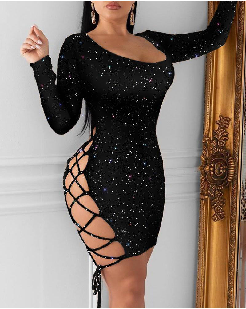 Bling Long Sleeve Glitter Bandage Hollow Out Lace Up Bodycon Dress