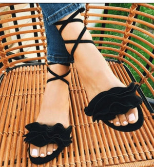 Ankle Strap Gladiator Ruffles Solid Lace Up Flat Sandals