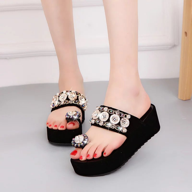 Crystal Button Rhinestone Butterfly Knot Decor Casual Platform Slippers