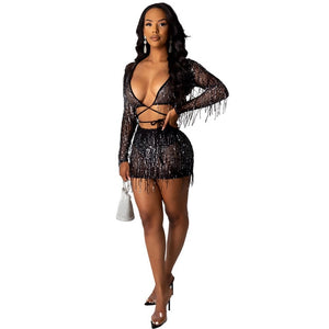 V-Neck Sequins Tassel Beaded Sheer Mesh Skirt Two Piece Dress