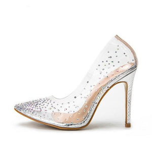 Glitter Colorful Rhinestone Mesh Thin Pump Heeled Shoe
