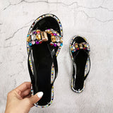 Big Diamond Flash Drilling Colored Crystal Flat outdoor Slippers