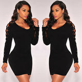 O Neck Hollow Out Lace Up Long Sleeve Bodycon Dress