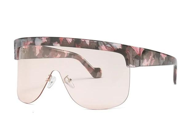 Oversized One Piece Shield Rimless Leopard Print Windproof Visor Sunglasses