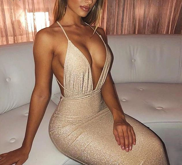 Deep V Neck Sleeveless Cross Backless Elegant Bodycon Dress