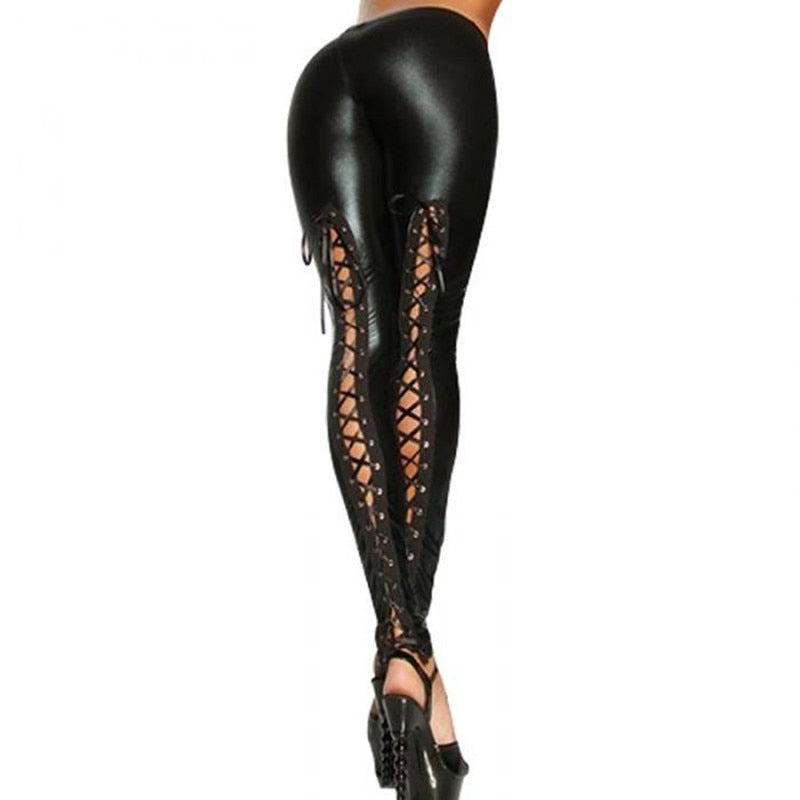 Stretchy Patent Leather Lace Up Gothic Bandage Leggings