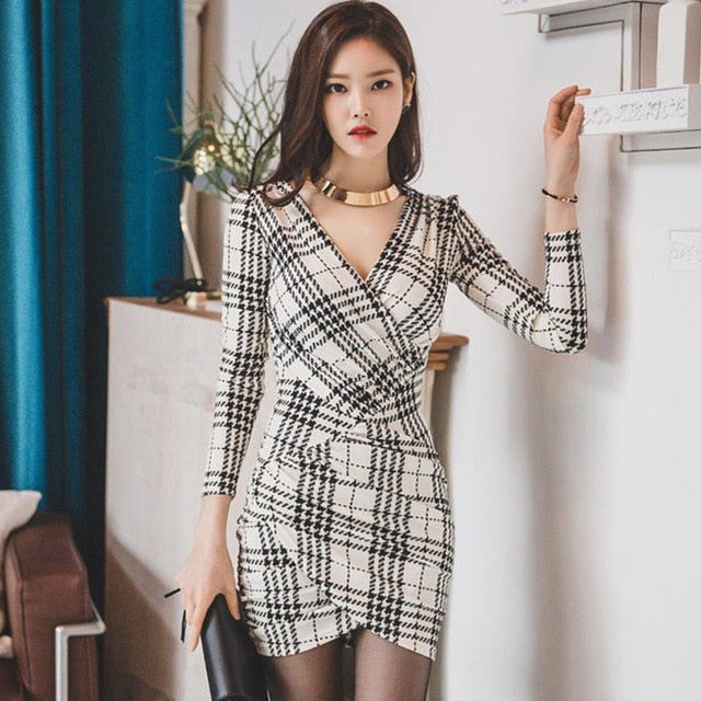 V-neck Lattice Printing Plaid Long Sleeve Sheath Bodycon Dress