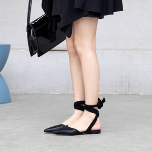 Pointed  Toe Strap Butterfly Knot Bow Flat Sandals