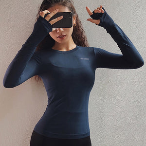 Thumb Hole Long Sleeve Fitted Gym T-Shirt