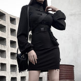 Punk Belt Long Sleeve Sheath Casual Dress