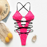V Neck Halter Backless High Leg Cut One Piece Swimwear