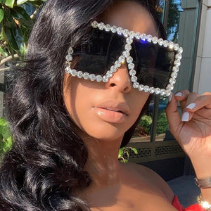 Colorful Diamond Big Frame Luxury Crystal Rhinestone Square Sunglasses