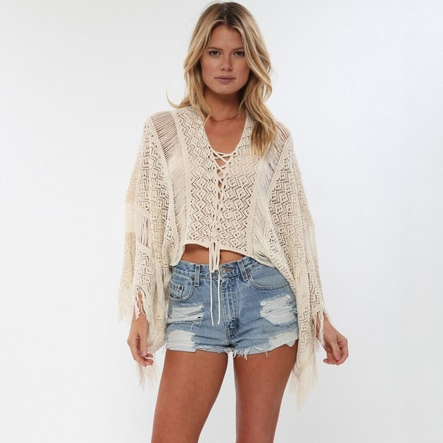 Hollow Out Crochet Draped Long Sleeves Crop Cover Up
