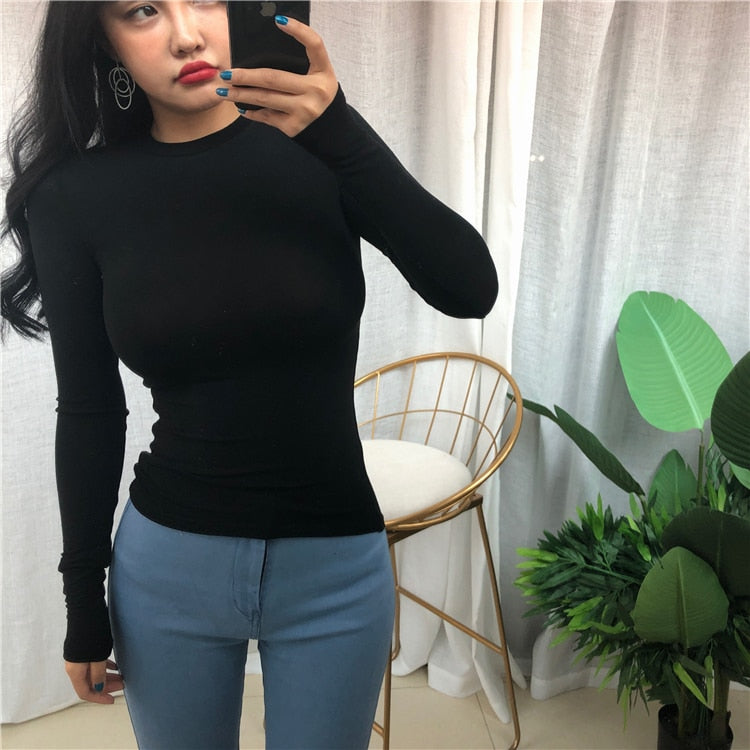 Solid Elastic O-Neck Long Sleeve T-Shirt