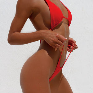 Deep V Neck High Leg Cut Hollow Out One Piece Swimwear