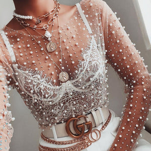 See-Through Mesh Pearls Embellished Long Sleeve T-Shirt