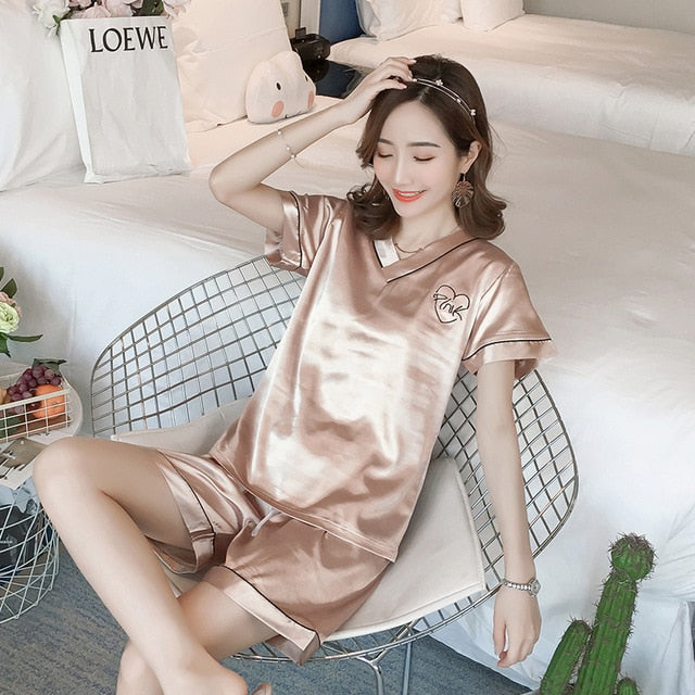 Luxury Faux Silk Flower Print V-Neck Long Sleeve Pajamas Set