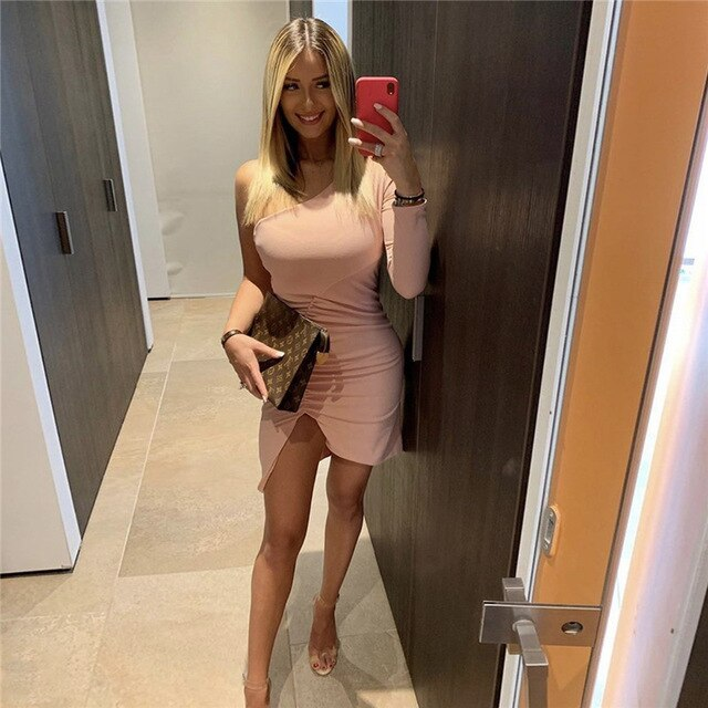 Solid One Shoulder Slim Sheath Irregular Hem Ruched Mini Bodycon Dress