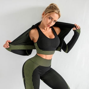 Micro Dot Pattern Sleeveless Crop Top Seamless Legging Sportswear