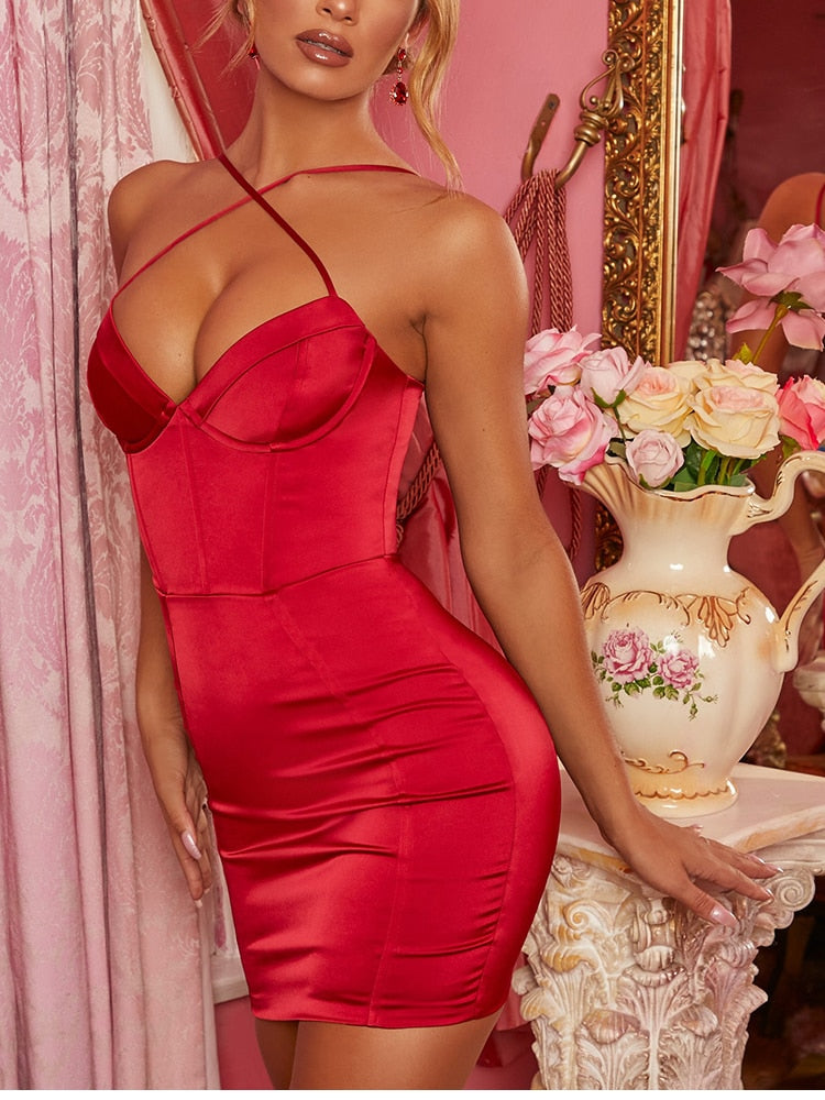 Stretch Satin Crossed Strap Backless Bodycon Dress