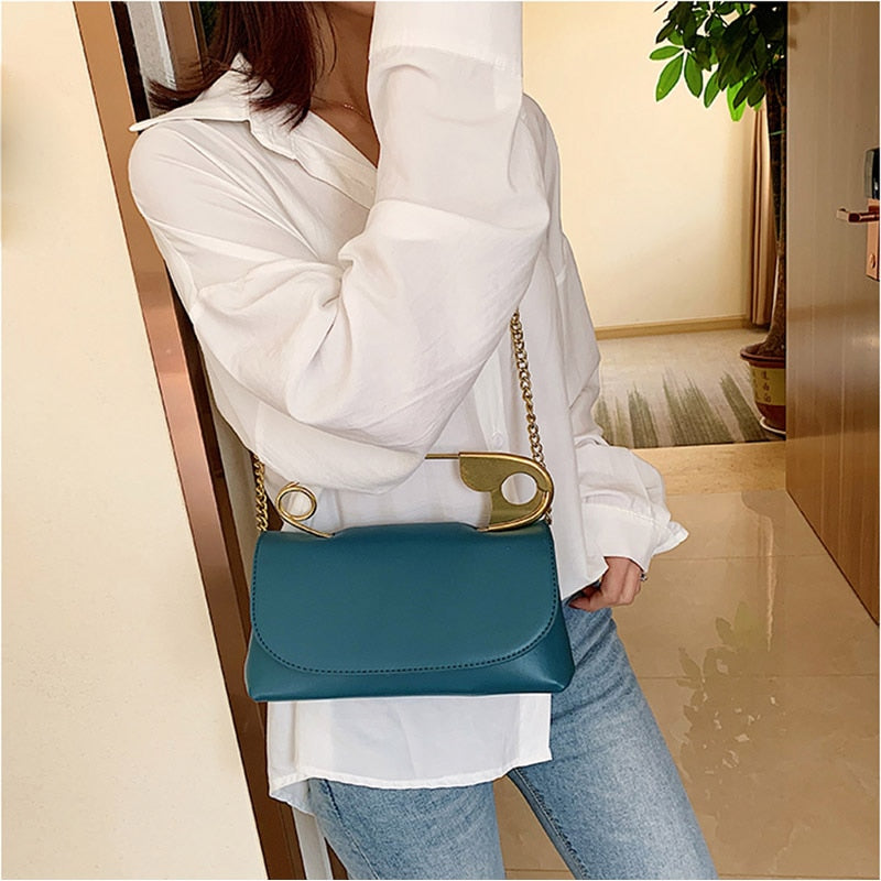 Safety Pin Handle PU Leather Chain Strap Mini Crossbody Bag