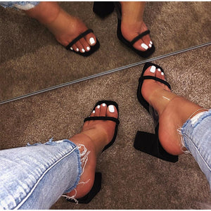 Transparent Open Toes Thick High Heel Sandal