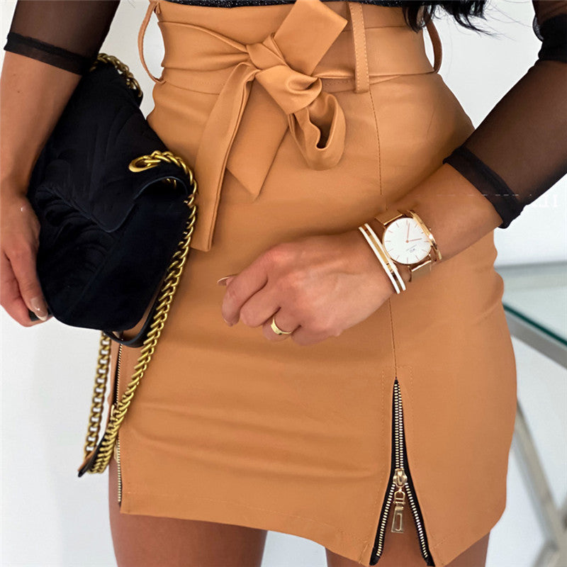 Bandage Zipper Slim High Waist PU Leather Pencil Bodycon Mini Skirt