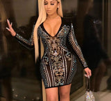 Glitter Pattern Crystal See Through Studded Mini Bodycon Dress